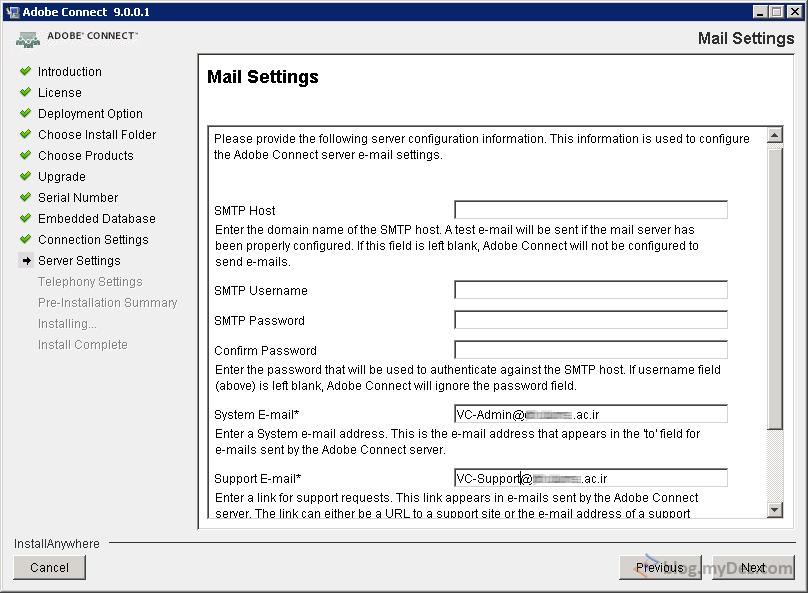 تنظیمات ارتباطی Mail Server و آدوبی کانکت