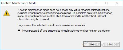 اجازه به حالت Maintenance بردن Host