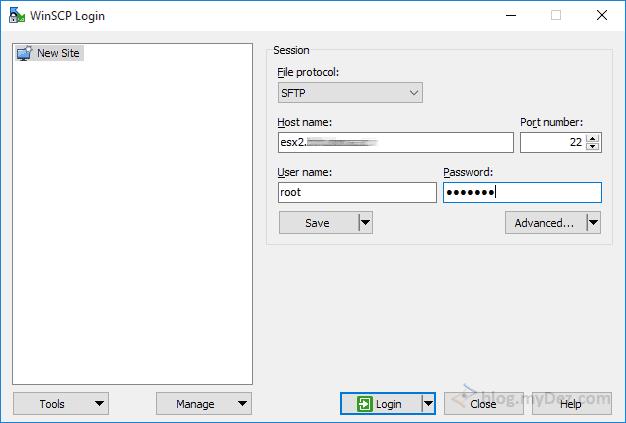 صفحه اتصال WinSCP به Host