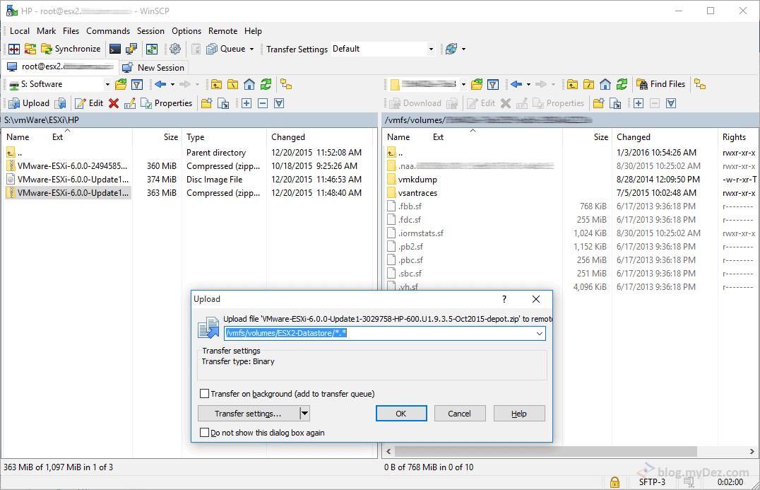 انتقال فایل Patch از کامپیوتر Local به Datastore ESXi